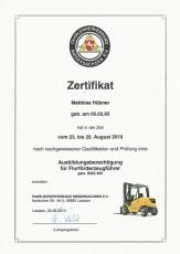 Ausbildungsberechtigung für Flurförderzeugführer gemäß BGG 925