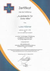 Fortbildung Ausbilder/in für Erste Hilfe - Luisa Hübner