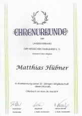 Ehrenurkunde 25-jährige Mitgliedschaft - Matthias Hübner